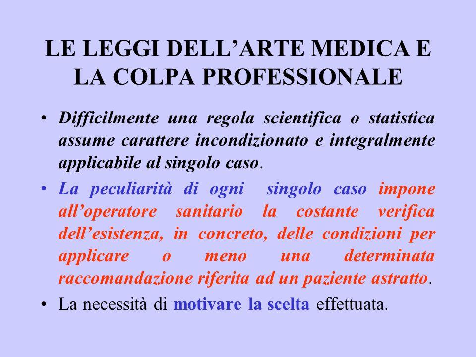 LE LEGGI DELLARTE MEDICA E LA COLPA PROFESSIONALE Difficilmente una regola scientifica o statistica assume carattere incondizionato e integralmente ap