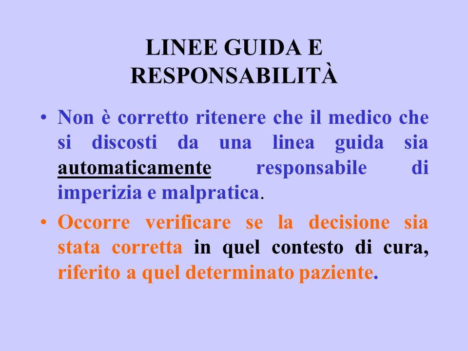 LINEE GUIDA E RESPONSABILITÀ Non è corretto ritenere che il medico che si discosti da una linea guida sia automaticamente responsabile di imperizia e