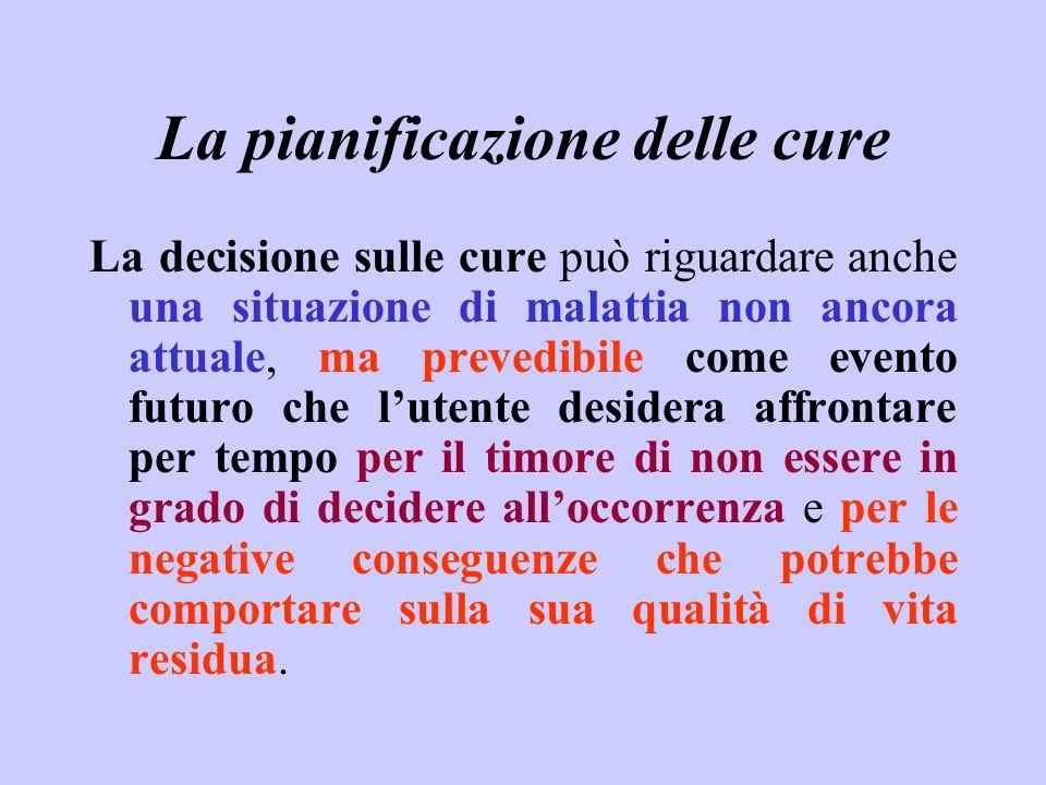 La pianificazione delle cure La decisione sulle cure può riguardare anche una situazione di malattia non ancora attuale, ma prevedibile come evento fu