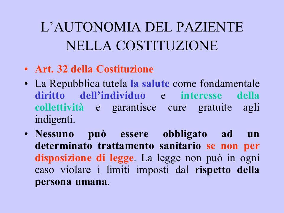 LAUTONOMIA DEL PAZIENTE NELLA COSTITUZIONE Art. 32 della Costituzione La Repubblica tutela la salute come fondamentale diritto dellindividuo e interes