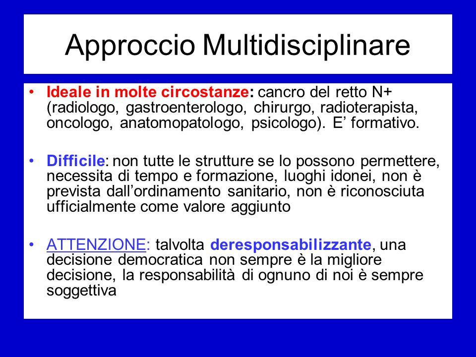 Approccio Multidisciplinare Ideale in molte circostanze: cancro del retto N+ (radiologo, gastroenterologo, chirurgo, radioterapista, oncologo, anatomopatologo, psicologo).