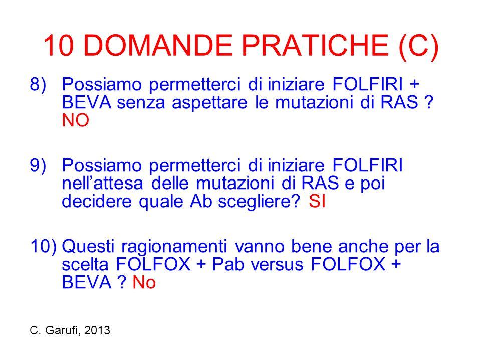 10 DOMANDE PRATICHE (C) 8)Possiamo permetterci di iniziare FOLFIRI + BEVA senza aspettare le mutazioni di RAS .