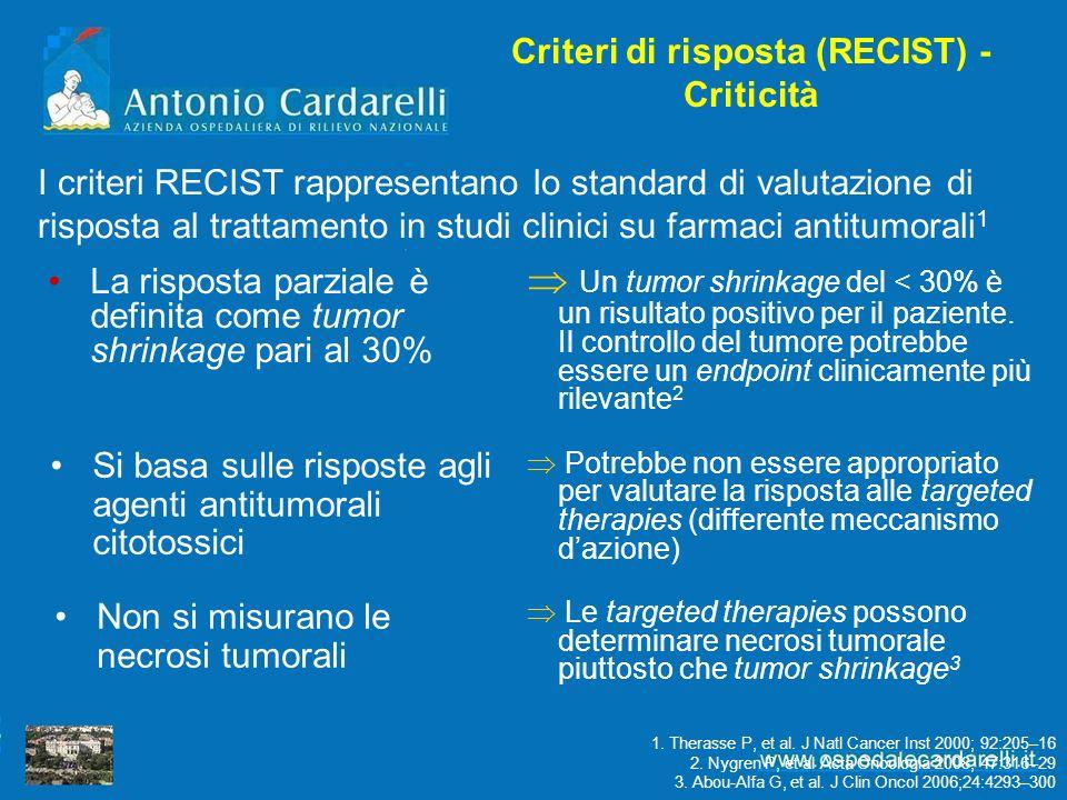 Criteri di risposta (RECIST) - Criticità La risposta parziale è definita come tumor shrinkage pari al 30% Un tumor shrinkage del < 30% è un risultato