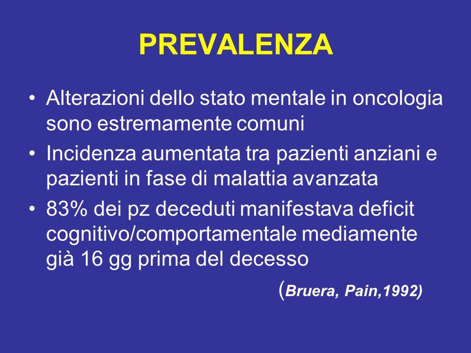 PREVALENZA Alterazioni dello stato mentale in oncologia sono estremamente comuni Incidenza aumentata tra pazienti anziani e pazienti in fase di malatt