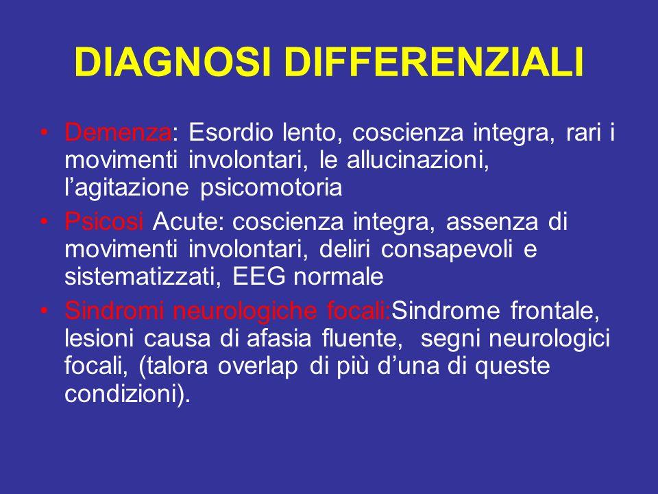 DIAGNOSI DIFFERENZIALI Demenza: Esordio lento, coscienza integra, rari i movimenti involontari, le allucinazioni, lagitazione psicomotoria Psicosi Acu