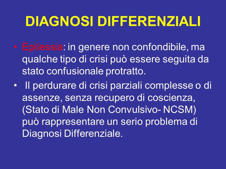 DIAGNOSI DIFFERENZIALI Epilessia: in genere non confondibile, ma qualche tipo di crisi può essere seguita da stato confusionale protratto. Il perdurar