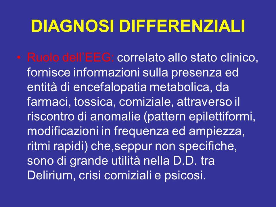 DIAGNOSI DIFFERENZIALI Ruolo dellEEG: correlato allo stato clinico, fornisce informazioni sulla presenza ed entità di encefalopatia metabolica, da far