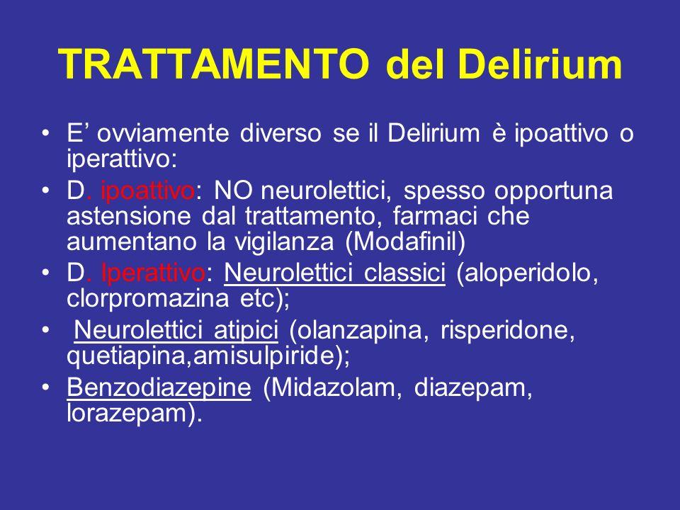 TRATTAMENTO del Delirium E ovviamente diverso se il Delirium è ipoattivo o iperattivo: D. ipoattivo: NO neurolettici, spesso opportuna astensione dal