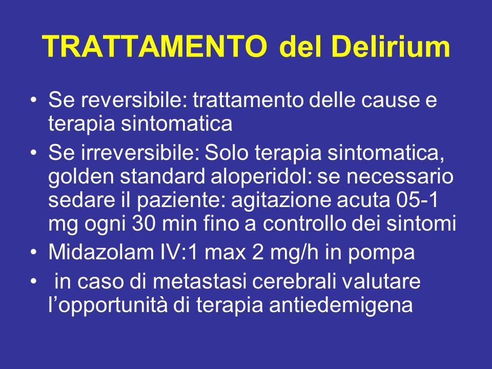 TRATTAMENTO del Delirium Se reversibile: trattamento delle cause e terapia sintomatica Se irreversibile: Solo terapia sintomatica, golden standard alo