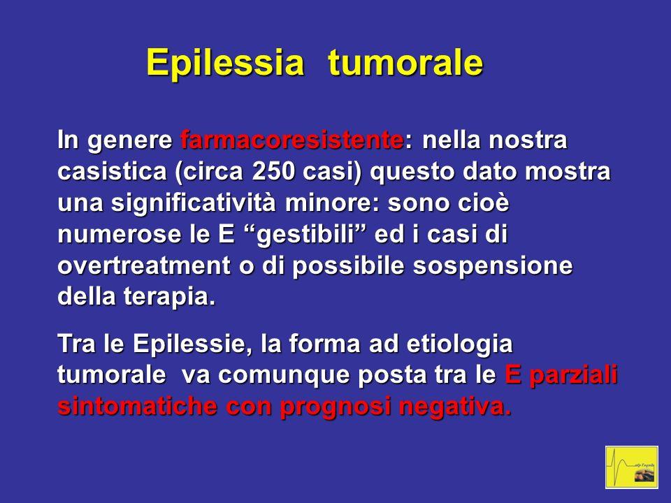 Epilessia tumorale In genere farmacoresistente: nella nostra casistica (circa 250 casi) questo dato mostra una significatività minore: sono cioè numer