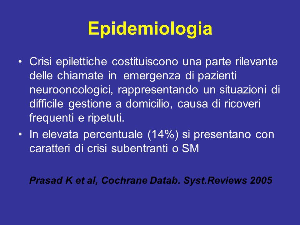 Epidemiologia Crisi epilettiche costituiscono una parte rilevante delle chiamate in emergenza di pazienti neurooncologici, rappresentando un situazion