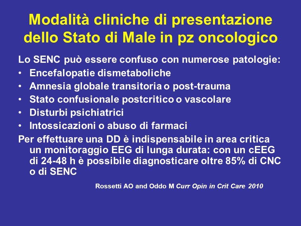 Modalità cliniche di presentazione dello Stato di Male in pz oncologico Lo SENC può essere confuso con numerose patologie: Encefalopatie dismetabolich