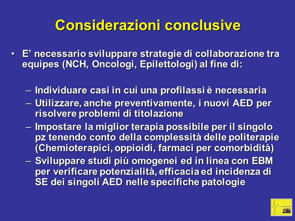 Considerazioni conclusive E necessario sviluppare strategie di collaborazione tra equipes (NCH, Oncologi, Epilettologi) al fine di:E necessario svilup