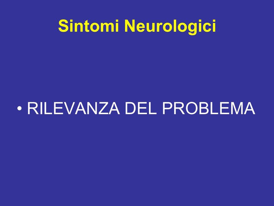 Sintomi Neurologici RILEVANZA DEL PROBLEMA