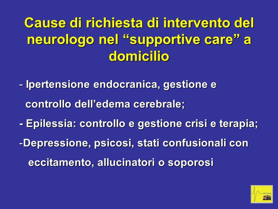 Cause di richiesta di intervento del neurologo nel supportive care a domicilio - Ipertensione endocranica, gestione e controllo delledema cerebrale; c
