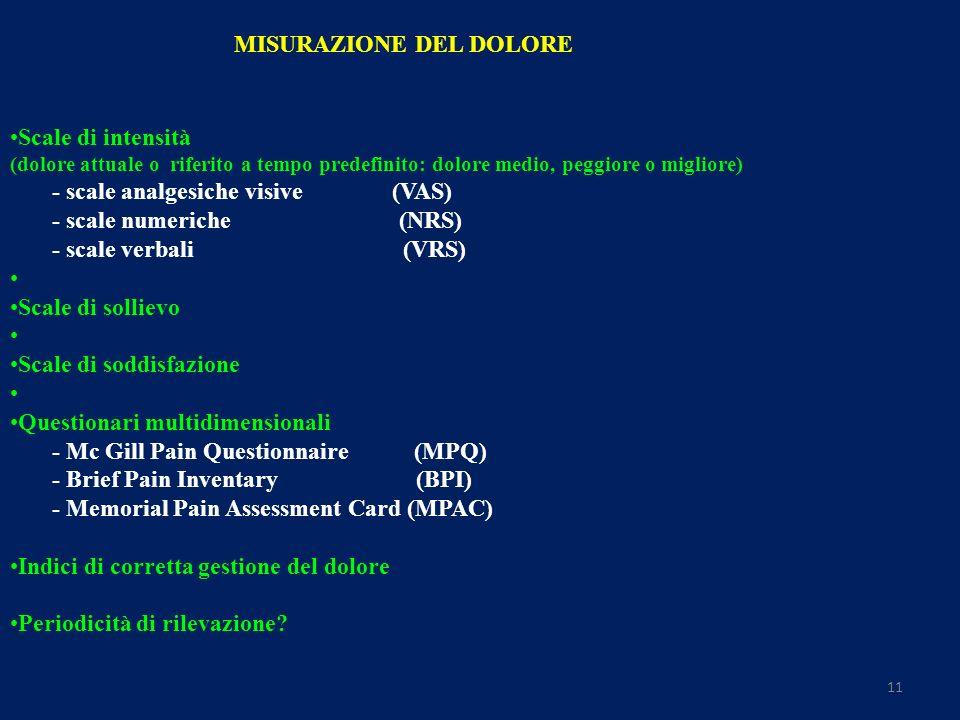 11 MISURAZIONE DEL DOLORE Scale di intensità (dolore attuale o riferito a tempo predefinito: dolore medio, peggiore o migliore) - scale analgesiche visive (VAS) - scale numeriche (NRS) - scale verbali (VRS) Scale di sollievo Scale di soddisfazione Questionari multidimensionali - Mc Gill Pain Questionnaire (MPQ) - Brief Pain Inventary (BPI) - Memorial Pain Assessment Card (MPAC) Indici di corretta gestione del dolore Periodicità di rilevazione?