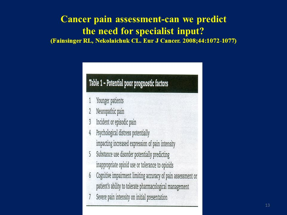 13 Cancer pain assessment-can we predict the need for specialist input? (Fainsinger RL, Nekolaichuk CL. Eur J Cancer. 2008;44:1072-1077)