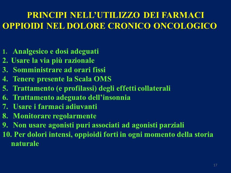 17 PRINCIPI NELLUTILIZZO DEI FARMACI OPPIOIDI NEL DOLORE CRONICO ONCOLOGICO 1.