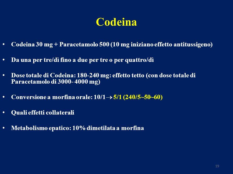 19 Codeina Codeina 30 mg + Paracetamolo 500 (10 mg iniziano effetto antitussigeno) Da una per tre/dì fino a due per tre o per quattro/dì Dose totale di Codeina: 180-240 mg: effetto tetto (con dose totale di Paracetamolo di 3000- 4000 mg) Conversione a morfina orale: 10/1 5/1 (240/5~50~60) Quali effetti collaterali Metabolismo epatico: 10% dimetilata a morfina