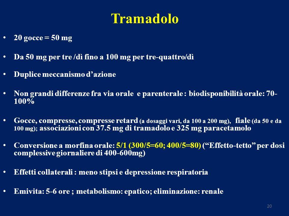 20 Tramadolo 20 gocce = 50 mg Da 50 mg per tre /dì fino a 100 mg per tre-quattro/dì Duplice meccanismo dazione Non grandi differenze fra via orale e parenterale : biodisponibilità orale: 70- 100% Gocce, compresse, compresse retard (a dosaggi vari, da 100 a 200 mg), fiale (da 50 e da 100 mg); associazioni con 37.5 mg di tramadolo e 325 mg paracetamolo Conversione a morfina orale: 5/1 (300/5=60; 400/5=80) (Effetto-tetto per dosi complessive giornaliere di 400-600mg) Effetti collaterali : meno stipsi e depressione respiratoria Emivita: 5-6 ore ; metabolismo: epatico; eliminazione: renale
