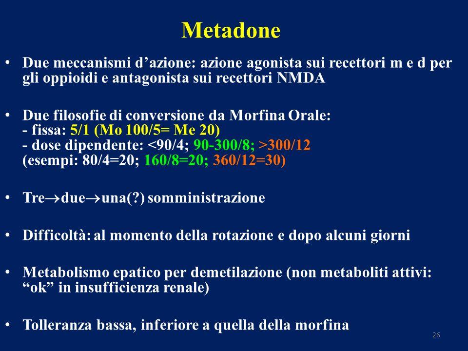 26 Metadone Due meccanismi dazione: azione agonista sui recettori m e d per gli oppioidi e antagonista sui recettori NMDA Due filosofie di conversione da Morfina Orale: - fissa: 5/1 (Mo 100/5= Me 20) - dose dipendente: 300/12 (esempi: 80/4=20; 160/8=20; 360/12=30) Tre due una(?) somministrazione Difficoltà: al momento della rotazione e dopo alcuni giorni Metabolismo epatico per demetilazione (non metaboliti attivi: ok in insufficienza renale) Tolleranza bassa, inferiore a quella della morfina