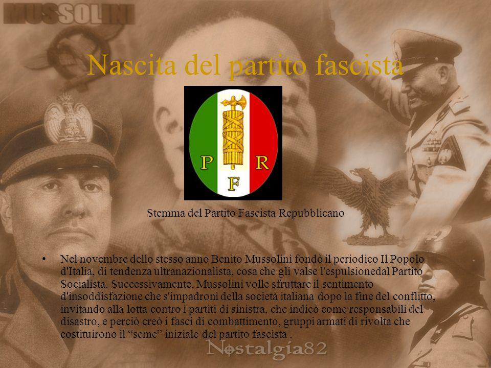 Nascita del partito fascista Stemma del Partito Fascista Repubblicano Nel novembre dello stesso anno Benito Mussolini fondò il periodico Il Popolo d Italia, di tendenza ultranazionalista, cosa che gli valse l espulsionedal Partito Socialista.