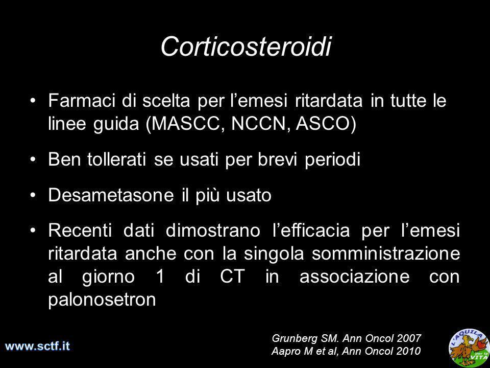 Corticosteroidi Farmaci di scelta per lemesi ritardata in tutte le linee guida (MASCC, NCCN, ASCO) Ben tollerati se usati per brevi periodi Desametaso