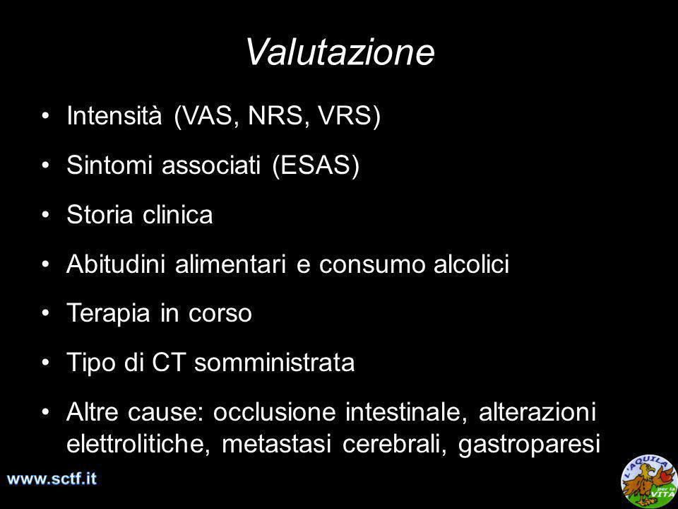 Valutazione Intensità (VAS, NRS, VRS) Sintomi associati (ESAS) Storia clinica Abitudini alimentari e consumo alcolici Terapia in corso Tipo di CT somm