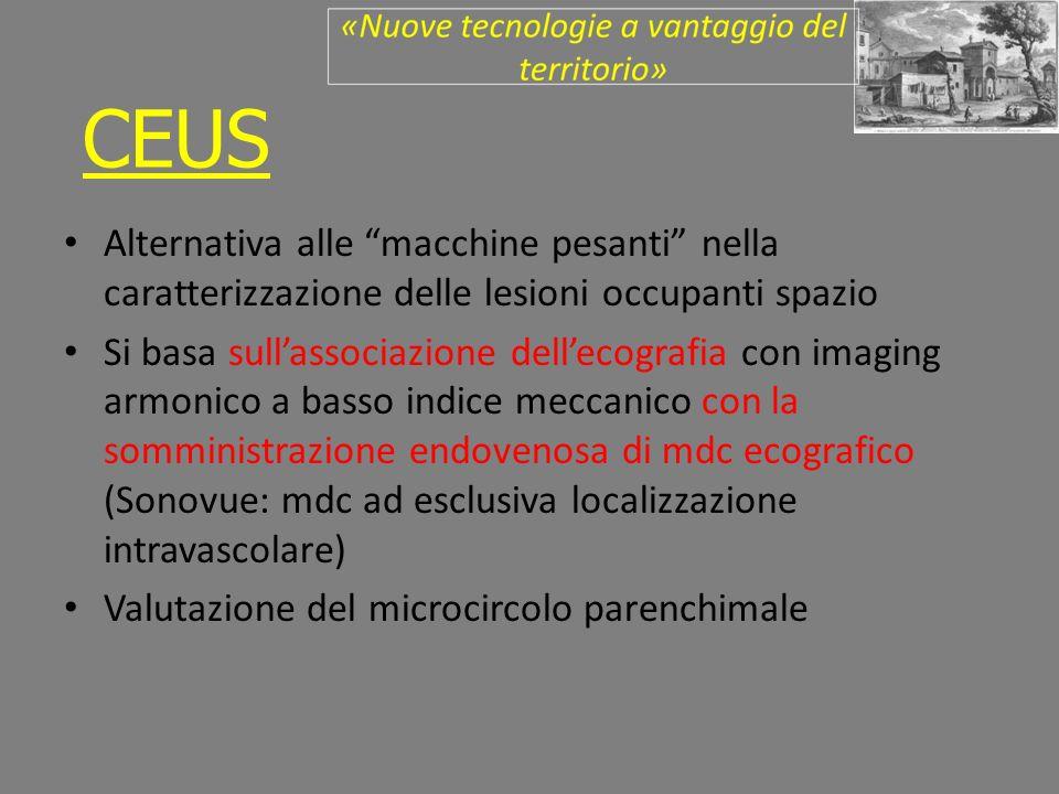 Alternativa alle macchine pesanti nella caratterizzazione delle lesioni occupanti spazio Si basa sullassociazione dellecografia con imaging armonico a basso indice meccanico con la somministrazione endovenosa di mdc ecografico (Sonovue: mdc ad esclusiva localizzazione intravascolare) Valutazione del microcircolo parenchimale CEUS