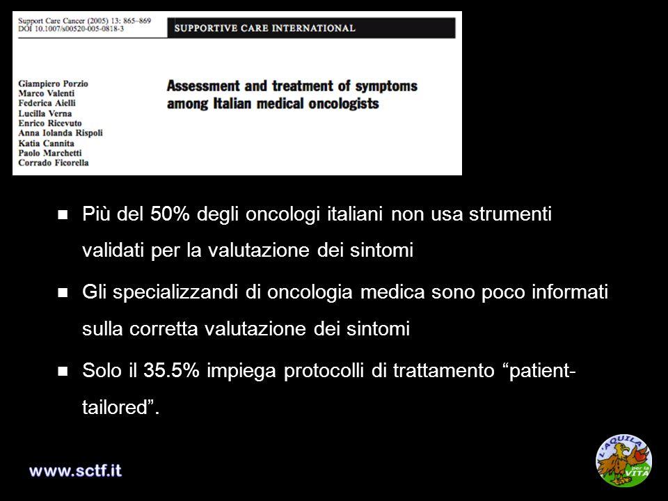 Più del 50% degli oncologi italiani non usa strumenti validati per la valutazione dei sintomi Gli specializzandi di oncologia medica sono poco informa