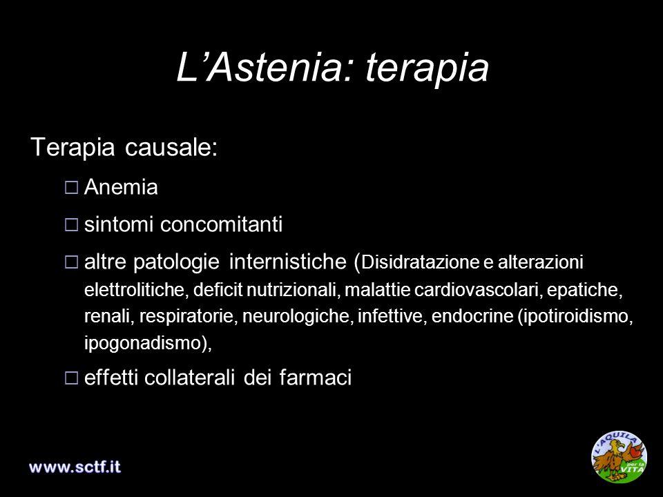 LAstenia: terapia Terapia causale: Anemia sintomi concomitanti altre patologie internistiche ( Disidratazione e alterazioni elettrolitiche, deficit nu