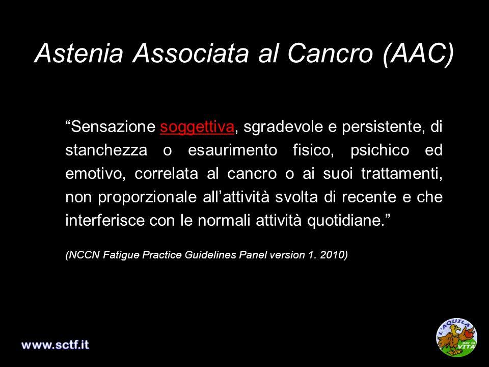 Astenia Associata al Cancro (AAC) Sensazione soggettiva, sgradevole e persistente, di stanchezza o esaurimento fisico, psichico ed emotivo, correlata