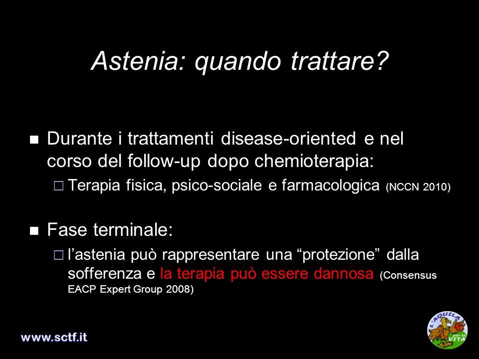 Astenia: quando trattare? Durante i trattamenti disease-oriented e nel corso del follow-up dopo chemioterapia: Terapia fisica, psico-sociale e farmaco