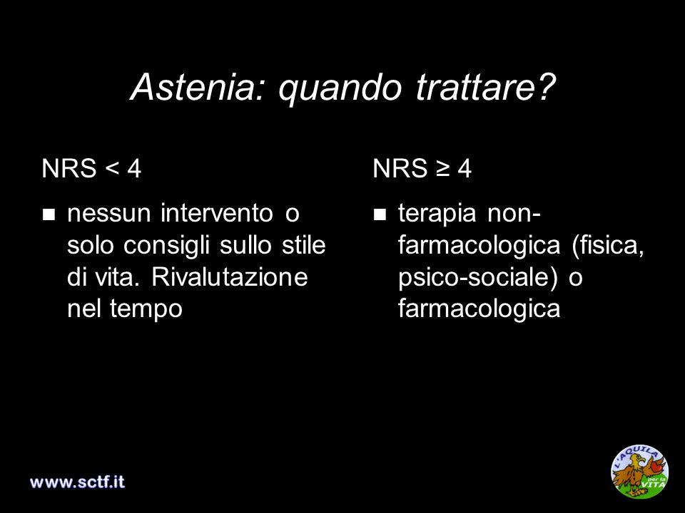 Astenia: quando trattare? NRS < 4 nessun intervento o solo consigli sullo stile di vita. Rivalutazione nel tempo NRS 4 terapia non- farmacologica (fis