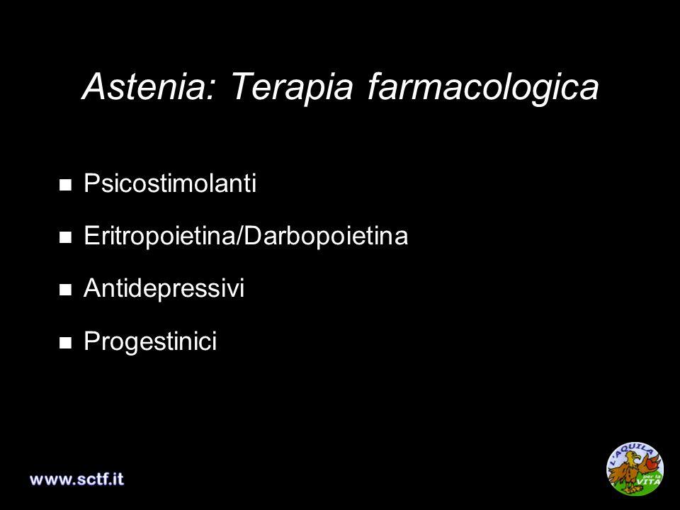 Psicostimolanti Eritropoietina/Darbopoietina Antidepressivi Progestinici Astenia: Terapia farmacologica