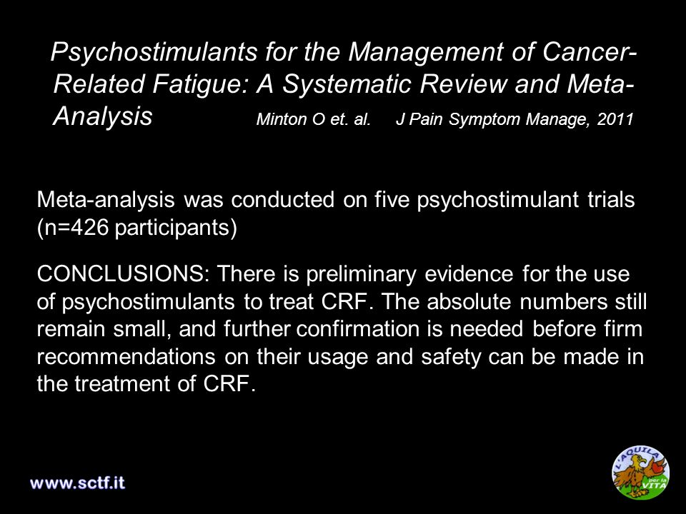 Psychostimulants for the Management of Cancer- Related Fatigue: A Systematic Review and Meta- Analysis Minton O et.
