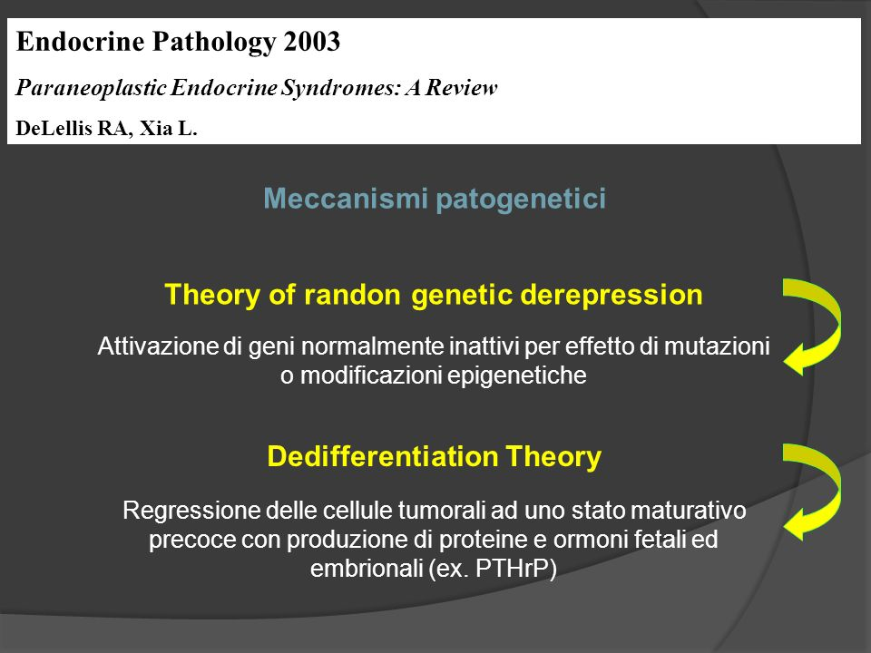Endocrine Pathology 2003 Paraneoplastic Endocrine Syndromes: A Review DeLellis RA, Xia L. Meccanismi patogenetici Theory of randon genetic derepressio