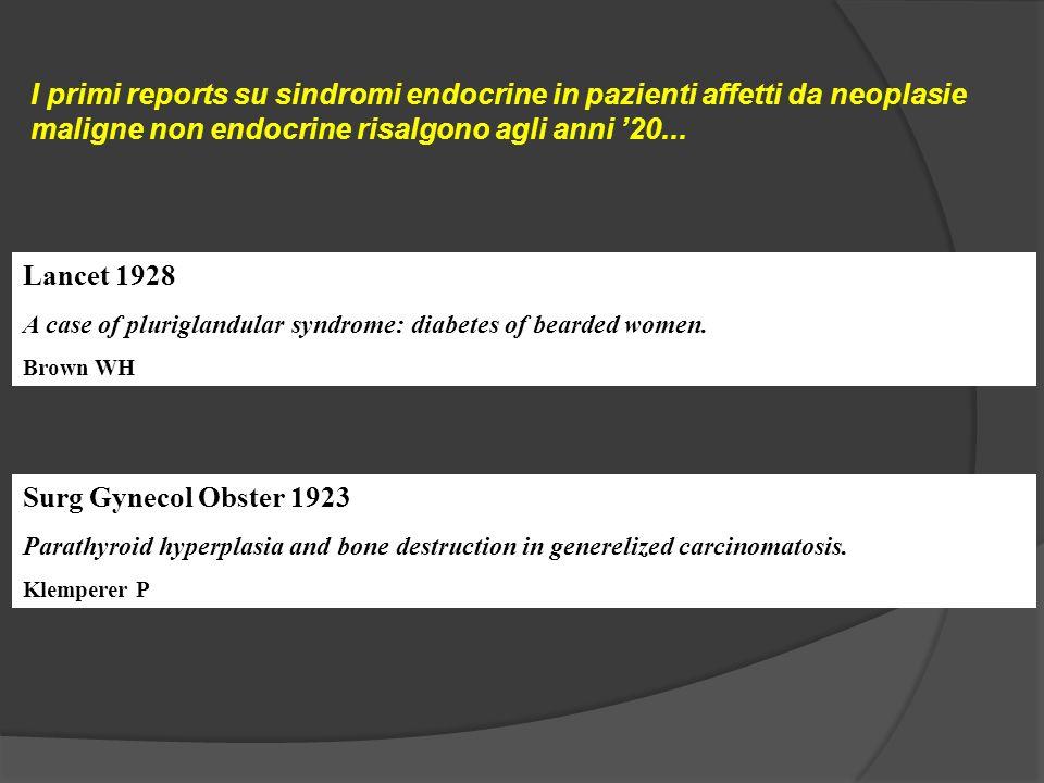 I primi reports su sindromi endocrine in pazienti affetti da neoplasie maligne non endocrine risalgono agli anni 20...