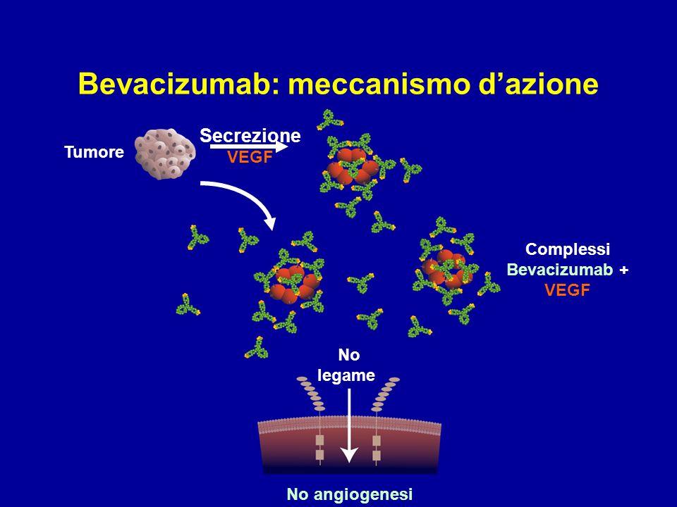 No angiogenesi Tumore No legame Secrezione VEGF Complessi Bevacizumab + VEGF Bevacizumab: meccanismo dazione