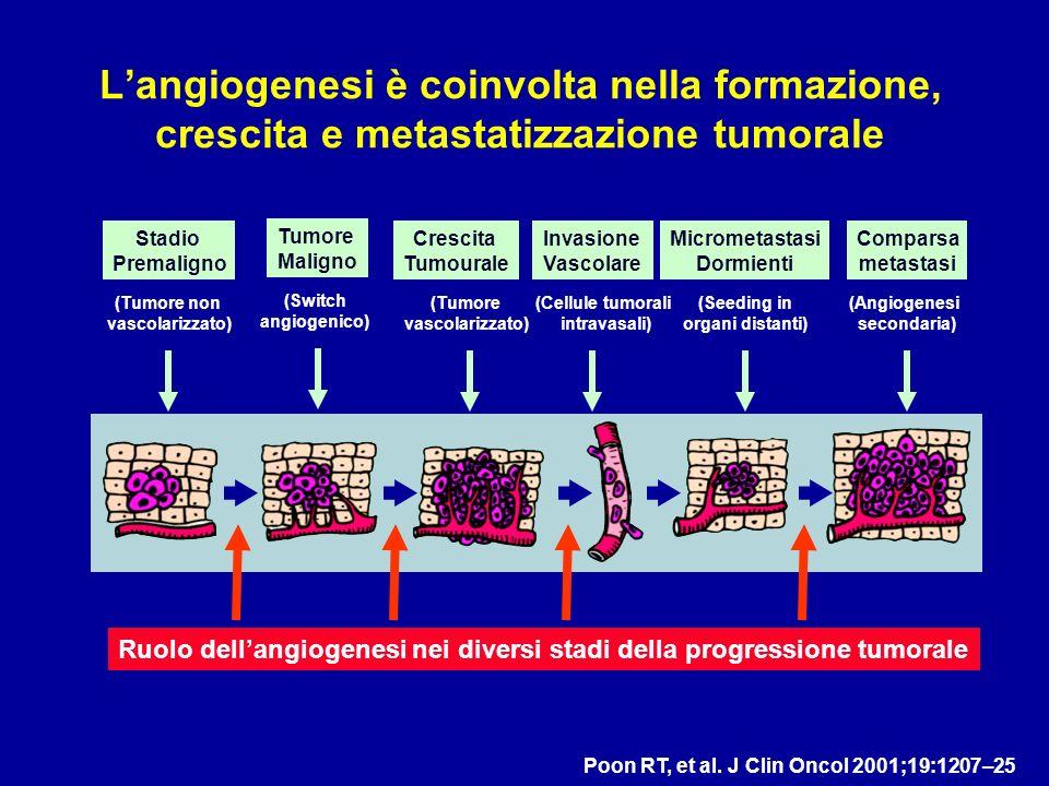 Langiogenesi è coinvolta nella formazione, crescita e metastatizzazione tumorale Poon RT, et al. J Clin Oncol 2001;19:1207–25 Ruolo dellangiogenesi ne