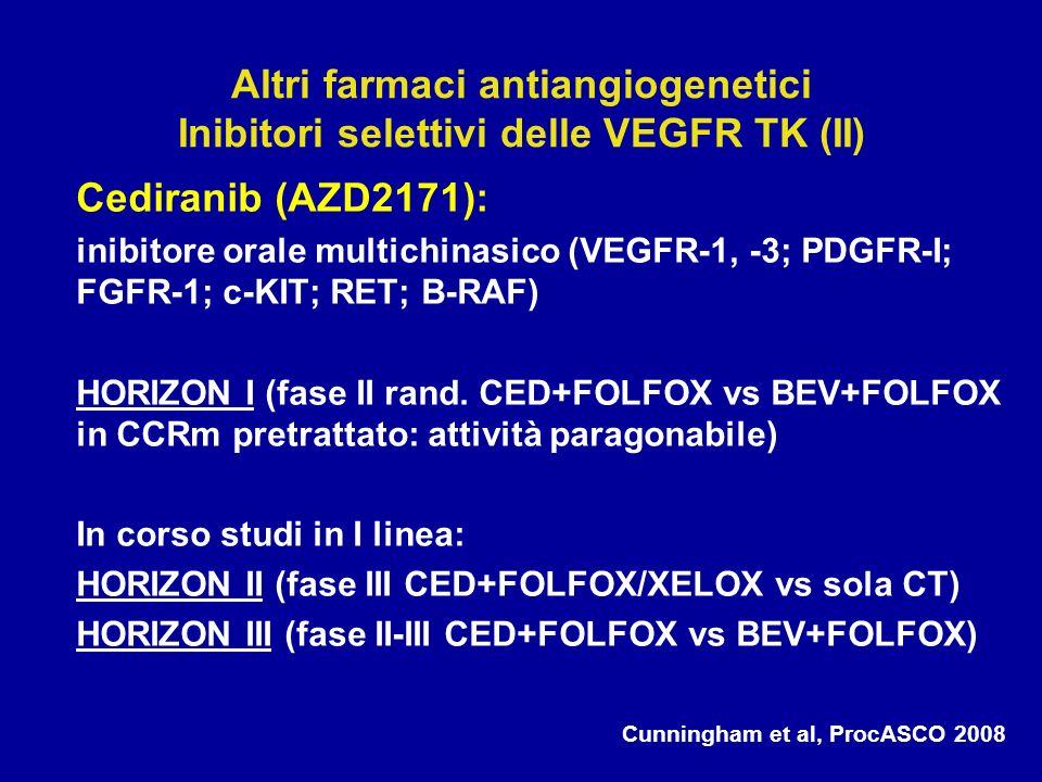 Cediranib (AZD2171): inibitore orale multichinasico (VEGFR-1, -3; PDGFR-I; FGFR-1; c-KIT; RET; B-RAF) HORIZON I (fase II rand. CED+FOLFOX vs BEV+FOLFO