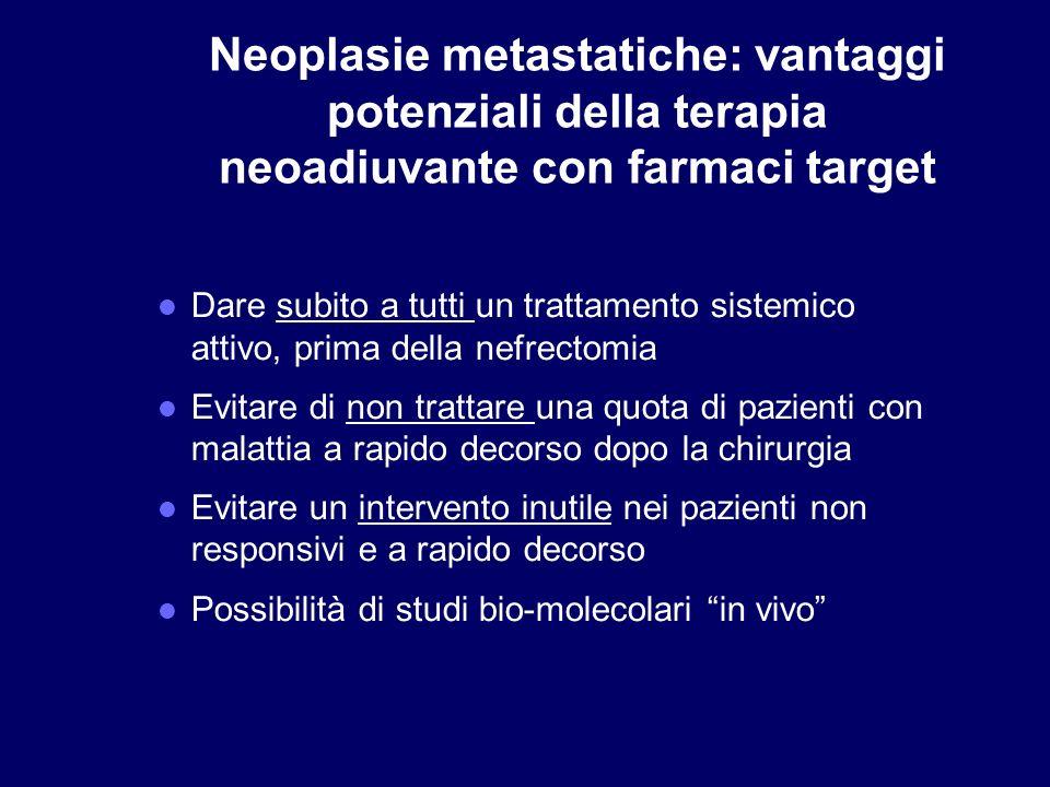 Neoplasie metastatiche: vantaggi potenziali della terapia neoadiuvante con farmaci target Dare subito a tutti un trattamento sistemico attivo, prima d