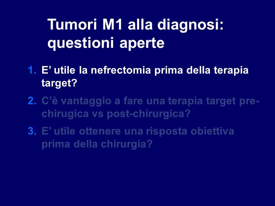 Tumori M1 alla diagnosi: questioni aperte 1.E utile la nefrectomia prima della terapia target? 2.Cè vantaggio a fare una terapia target pre- chirugica
