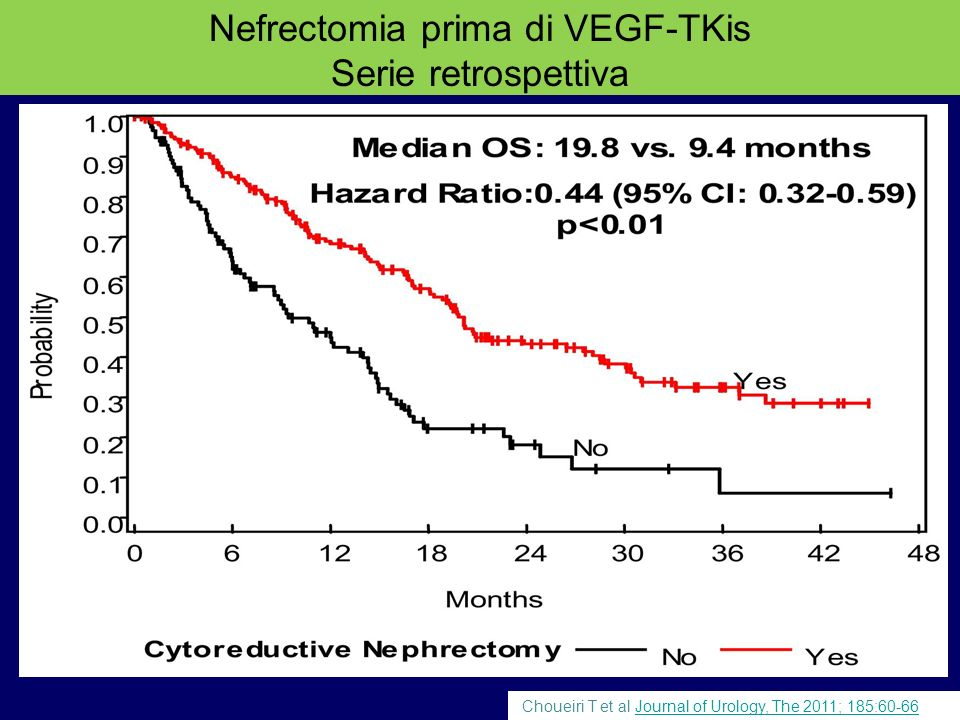 Choueiri T et al Journal of Urology, The 2011; 185:60-66Journal of Urology, The 2011; 185:60-66 Nefrectomia prima di VEGF-TKis Serie retrospettiva