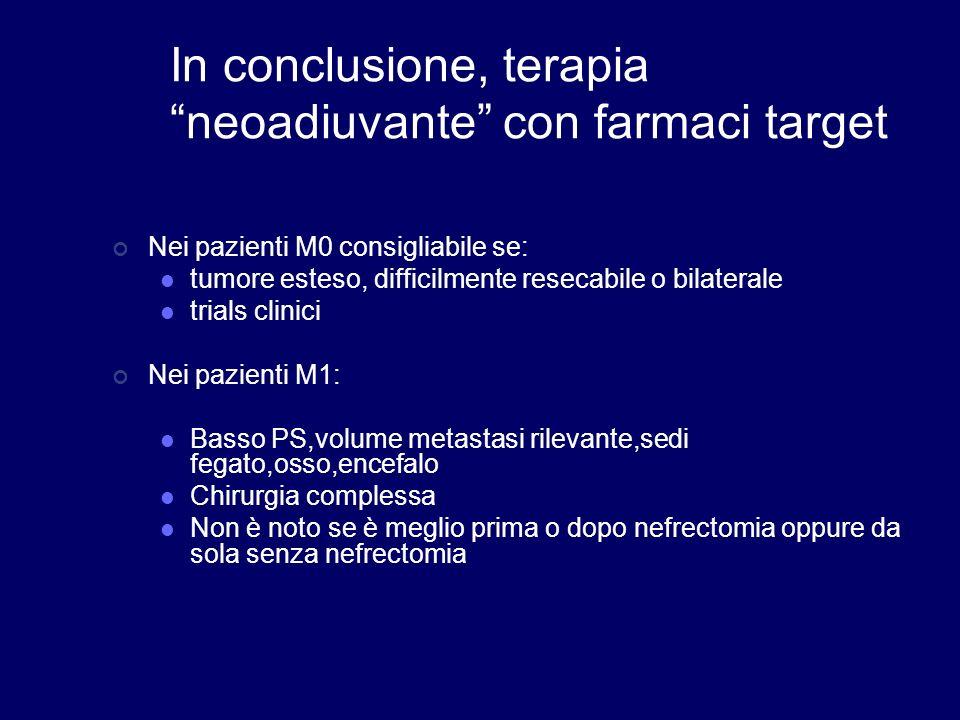 In conclusione, terapia neoadiuvante con farmaci target Nei pazienti M0 consigliabile se: tumore esteso, difficilmente resecabile o bilaterale trials
