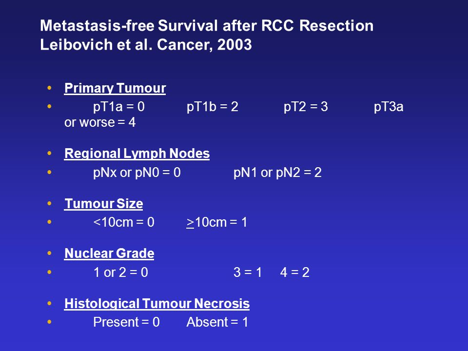 Primary Tumour pT1a = 0 pT1b = 2 pT2 = 3pT3a or worse = 4 Regional Lymph Nodes pNx or pN0 = 0pN1 or pN2 = 2 Tumour Size 10cm = 1 Nuclear Grade 1 or 2