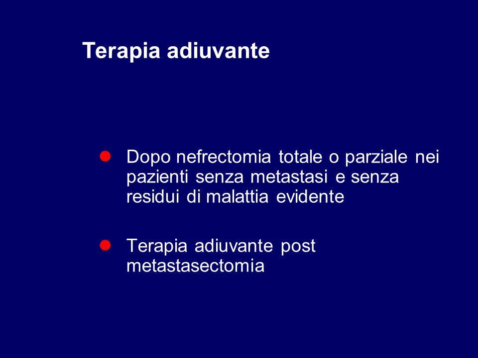Dopo nefrectomia totale o parziale nei pazienti senza metastasi e senza residui di malattia evidente Terapia adiuvante post metastasectomia Terapia ad