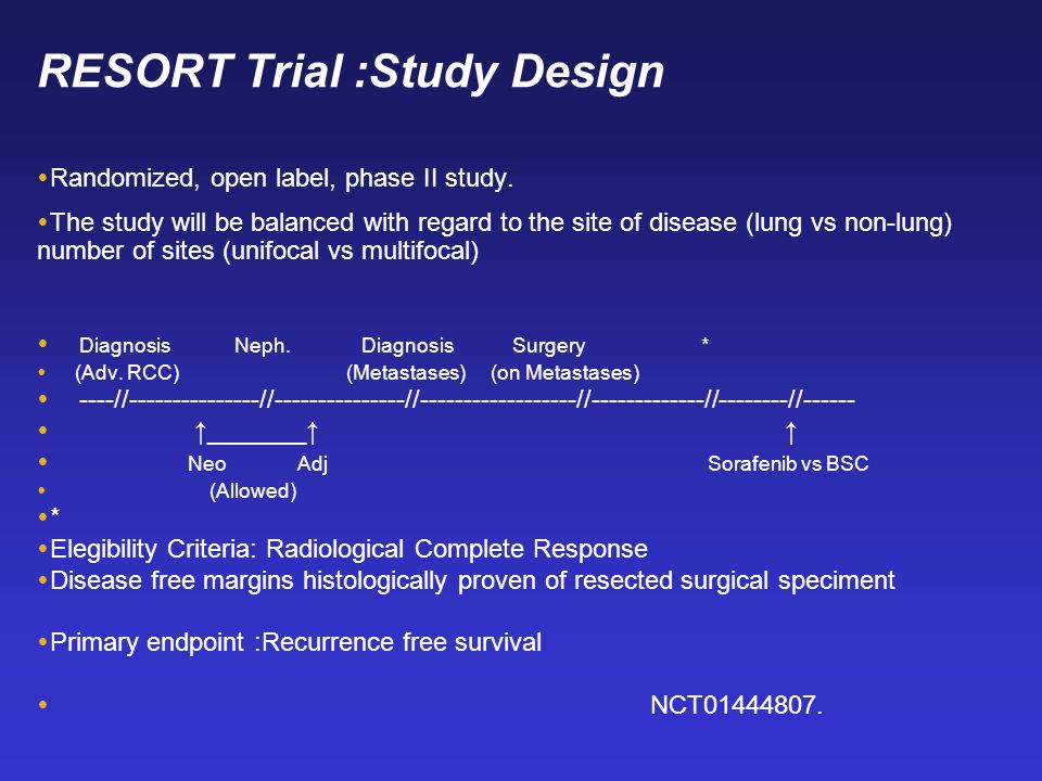 RESORT Trial :Study Design Randomized, open label, phase II study. The study will be balanced with regard to the site of disease (lung vs non-lung) nu