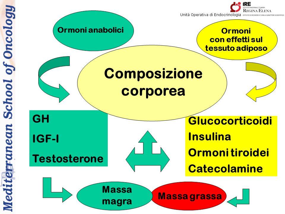 Ormoni con effetti sul tessuto adiposo Ormoni anabolici GH IGF-I Testosterone Glucocorticoidi Insulina Ormoni tiroidei Catecolamine Massa magra Massa