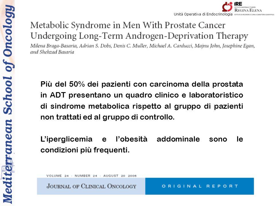 Più del 50% dei pazienti con carcinoma della prostata in ADT presentano un quadro clinico e laboratoristico di sindrome metabolica rispetto al gruppo